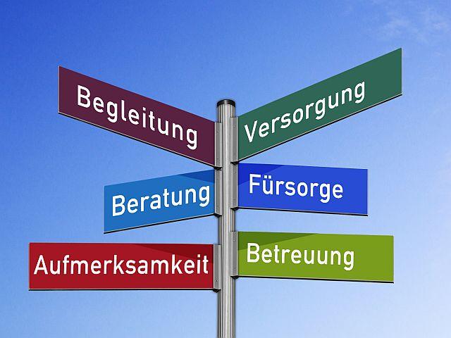 Schilder mit den Worten: Begleitung, Versorgung, Beratung, Fürsorge, Aufmerksamkeit und Betreuung.